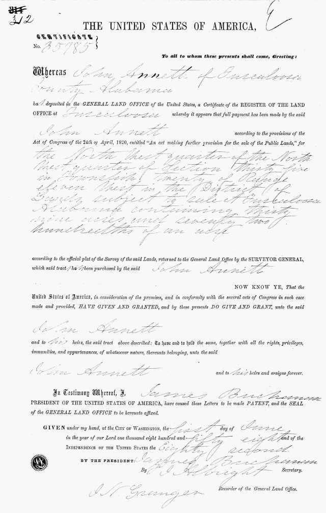 1858 Tuscaloosa Ala land grant to John Annett