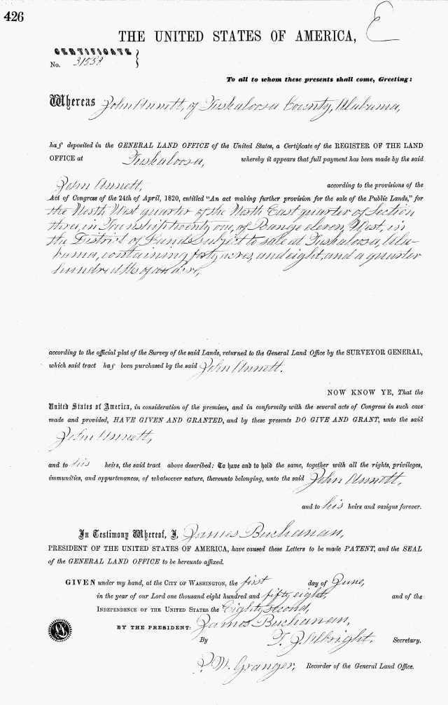 1858 Tuscaloosa Ala land grant to John Annett 2