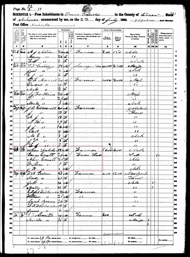 1860 US Census in Drew County Ark w George Annett and Adam Lockert in same home
