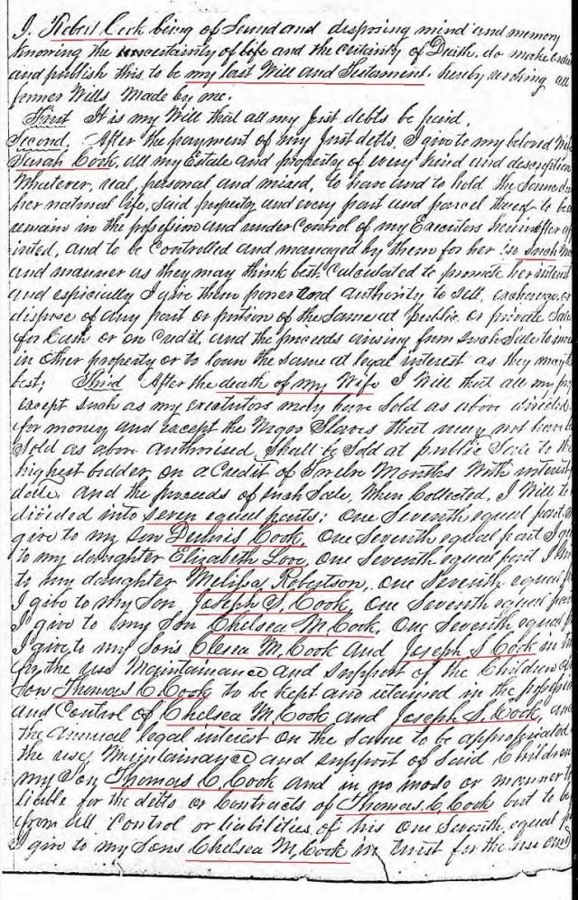 1861 will of Robert Cook p1