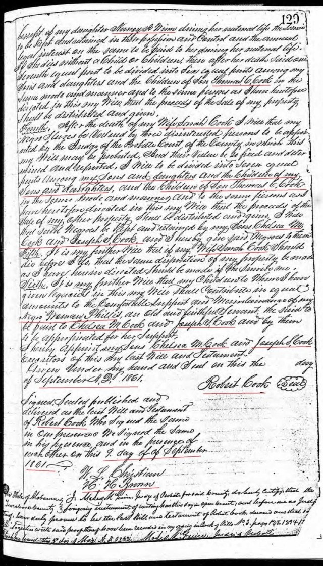 1861 will of Robert Cook p2