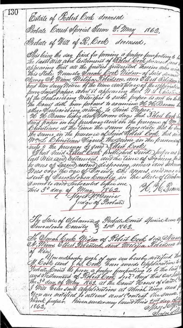 1862 proveup of Robert Cook's will