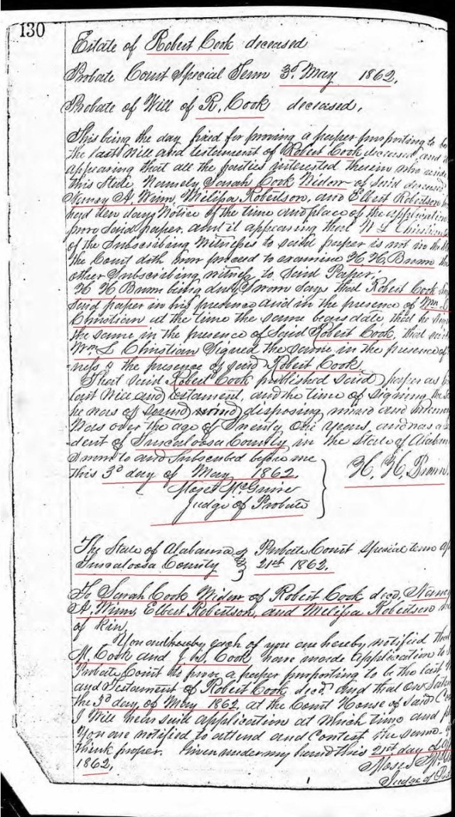 1862 proveup of Robert Cook's will