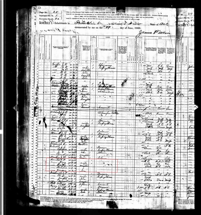1880 US Census in Drew Co Ark w G W Annett