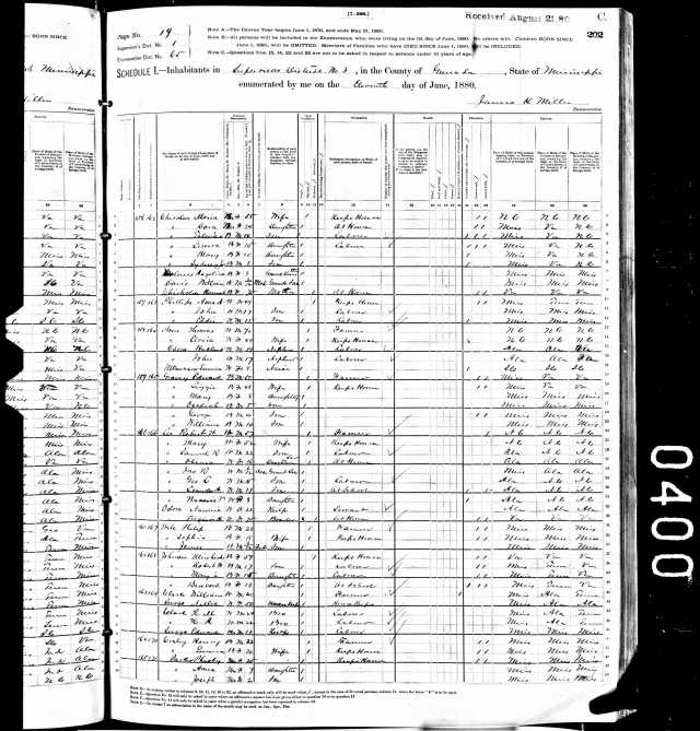 1880 US Census w Elvira Goyen in Grenada Co Miss