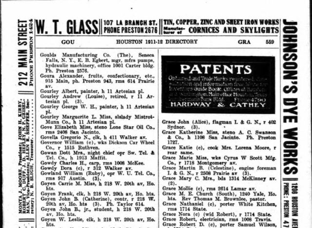 1911 John Bell and W L and John P and Frank Goyen in Houston City Directory