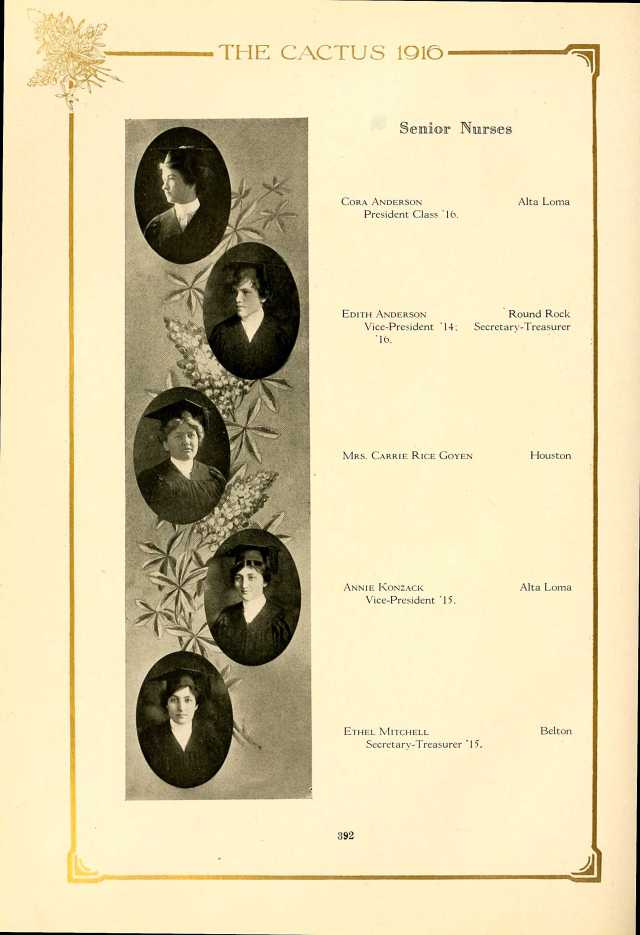 1916 Univ Texas yearbook photo Carrie Rice Goyen