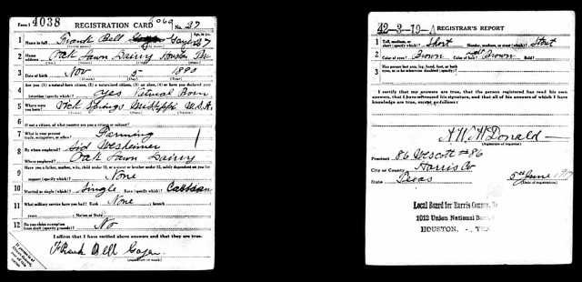 1917 WW I draft registration card