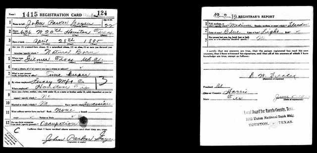 1917 WW I draft registration card