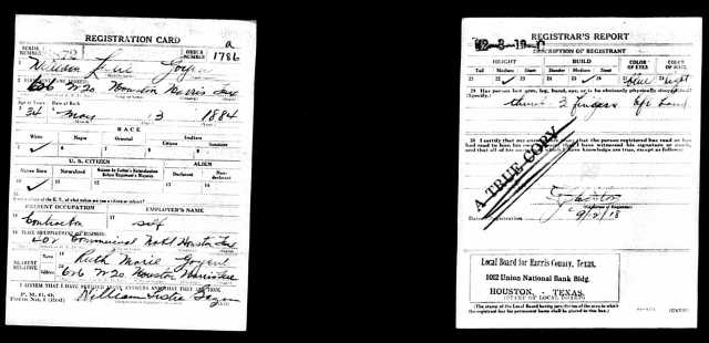 1918 World War I draft registration