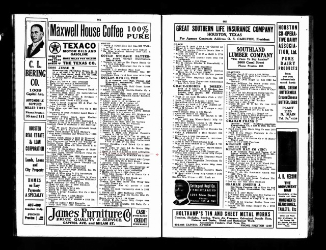 1920 Houston City Directory marked