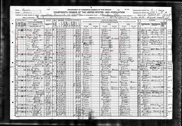 1920 US Census marked