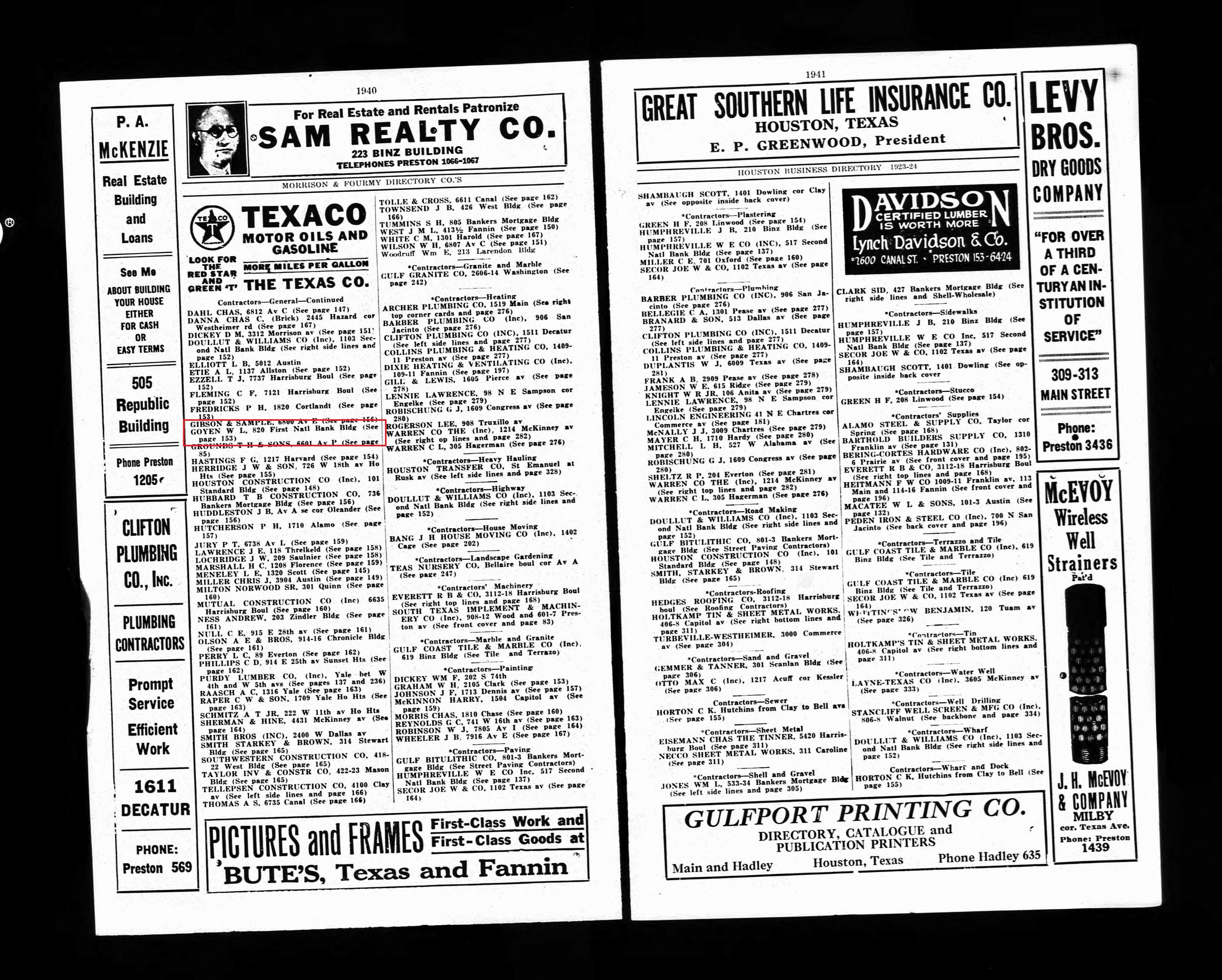 1884 william leslie goyen married ruth stayton goyen family tree 1923 houston city directory aiddatafo Gallery