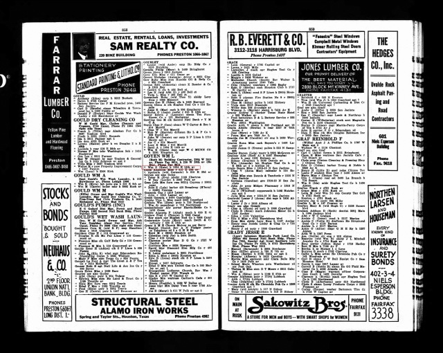 1929 Houston City Directory marked