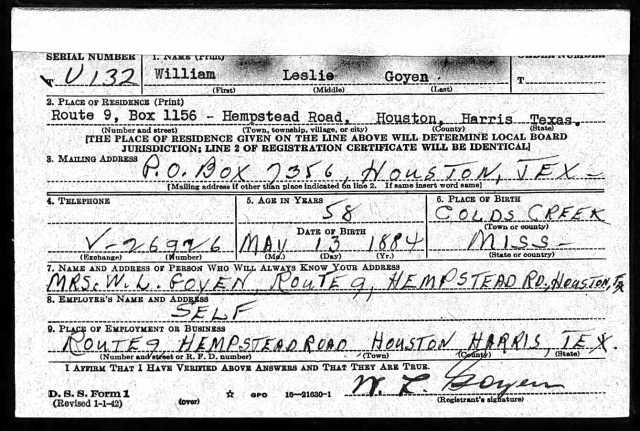 1942 WW II draft registration card p1