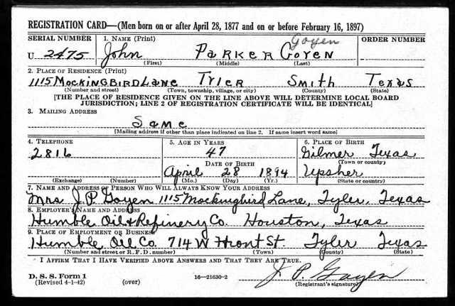 1942 WW II draft registration card