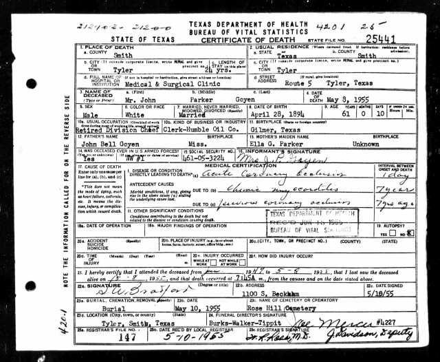 1955 Death Certificate