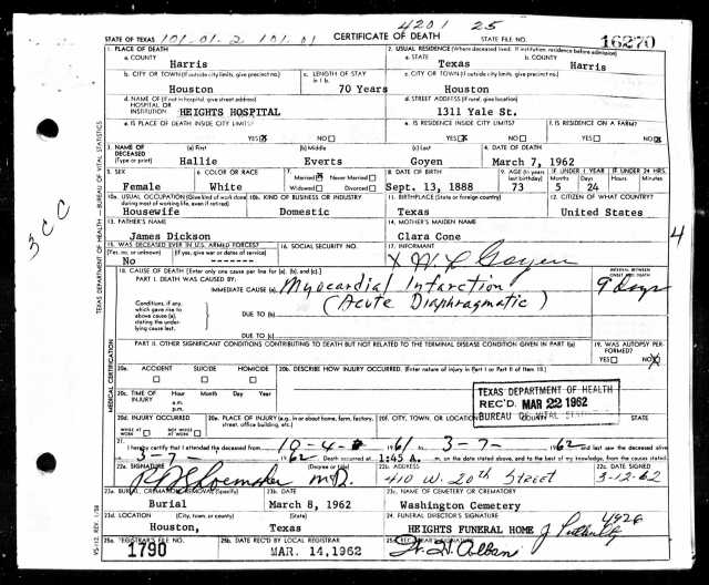 1962 Death Certificate of Hallie Dickson Everts Goyen
