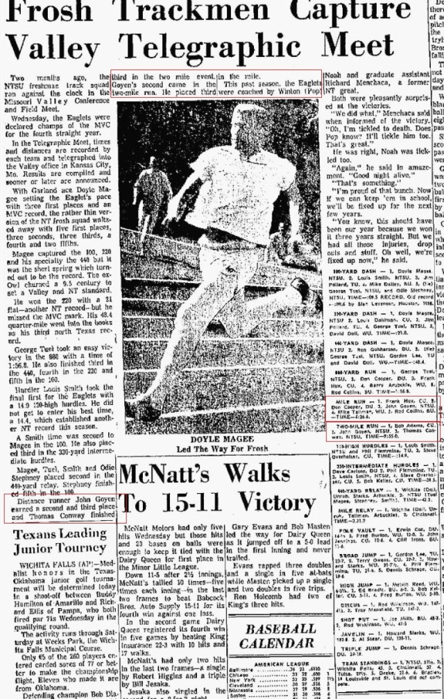 1964 June 18 Denton Record Chronicle article on track results