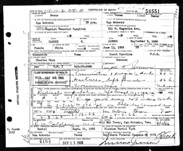 1966 Death Certificate for Carrie Rice