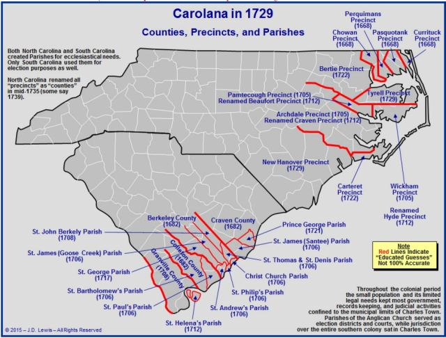 Carolana counties precincts and parishes in 1729
