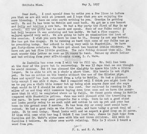Frank A Ware and E J Ware letter to Elizabeth Wiseman May 1857 transcript only