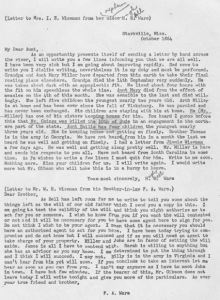 Hugh Bell and Frank Asbury Ware letter to I E Wiseman in October 1864 transcript only