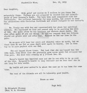 Hugh Bell letter to Elizabeth Wiseman and William Wiseman in Dec 1855 transcript only