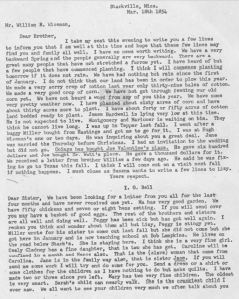 I G Bell and Suzannah Bell letter to William Wiseman in March 1854 transcript only p1