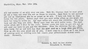 I G Bell and Suzannah Bell letter to William Wiseman in March 1854 transcript only p2