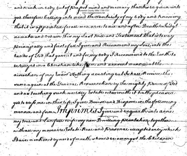 jno nipper will 1736 witnessed by Cornelius Keith in Bruns Va_Page_2