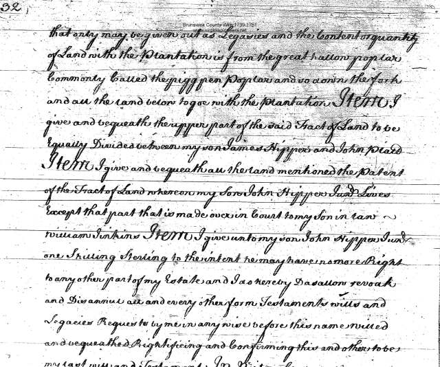 jno nipper will 1736 witnessed by Cornelius Keith in Bruns Va_Page_3
