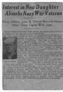 John Goyen Sr article about battles in WWII at Attu, air battle off Tarawa, and landing of Tarawa