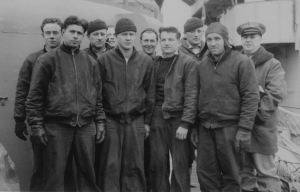 John Goyen Sr with Navy crew in WWII 3rd from left - USS Bailey