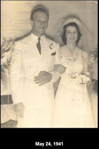 Mary Louise and John Goyen on wedding day May 24, 1941