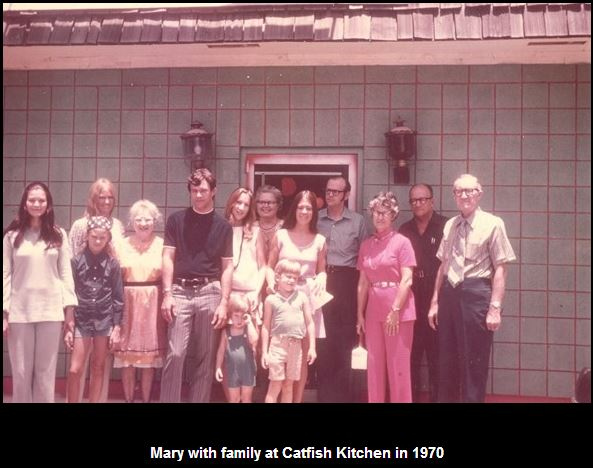 Mary Louise, sister Kathryn, and their families with Nanny and Alfred Foote in 1970 outside Catfish Kitchen