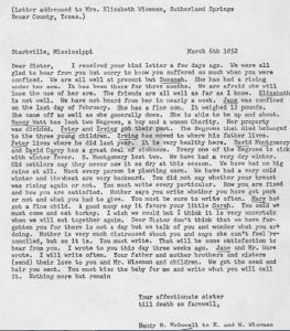 McDowell letter to Eliz and W Wiseman in March 1852 transcript only