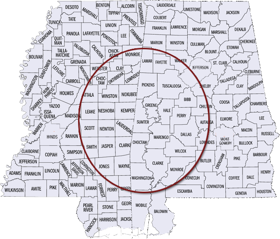 Mississippi and Alabama counties on map