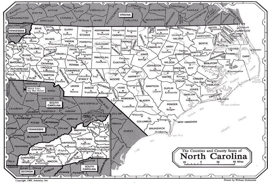 Map North Carolina South Carolina And Virginia County - Map of nc and sc