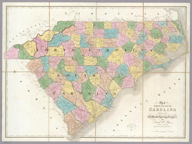 North and South Carolina county maps