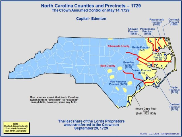 North Carolina counties 1729