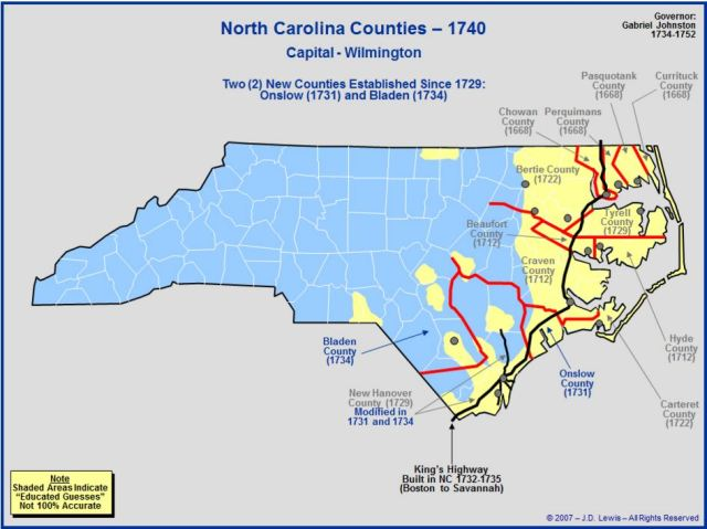 North Carolina counties 1740