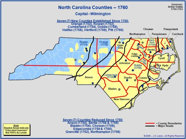 North Carolina counties 1760