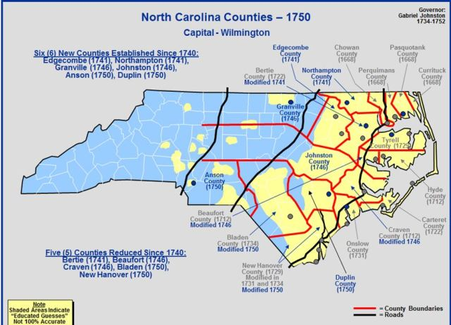 North Carolina counties in 1750
