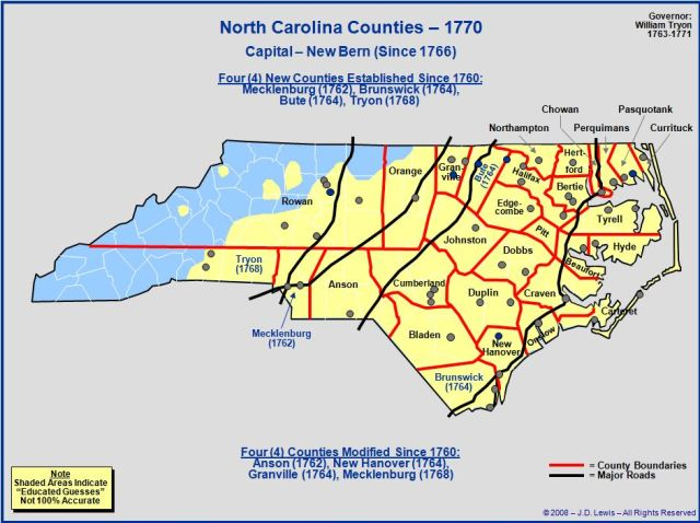 North Carolina counties in 1770