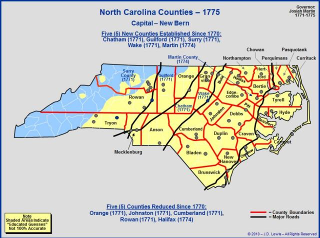 North Carolina counties in 1775
