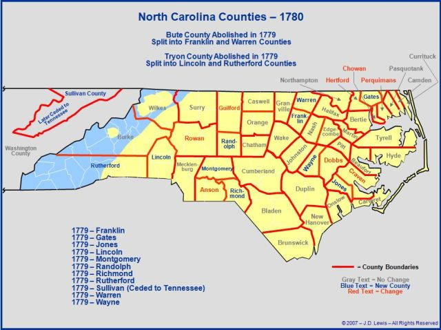 North Carolina counties in 1780
