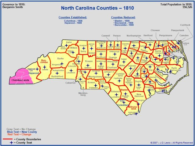 North Carolina counties in 1810