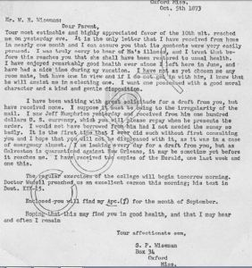 S P Wiseman to W R Wiseman Oct 5 1873 transcript only