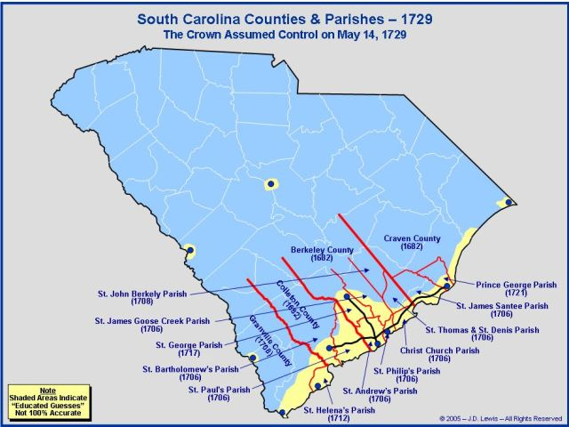 South Carolina counties in 1729